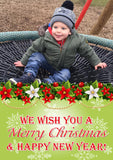 Festive Garland Personalised Folded Flat Christmas Photo Cards Family Child Kids ~ QUANTITY DISCOUNT AVAILABLE