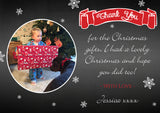 Cute Black Board Banner Personalised Folded Flat Christmas Thank You Photo Cards Family Child Kids ~ QUANTITY DISCOUNT AVAILABLE