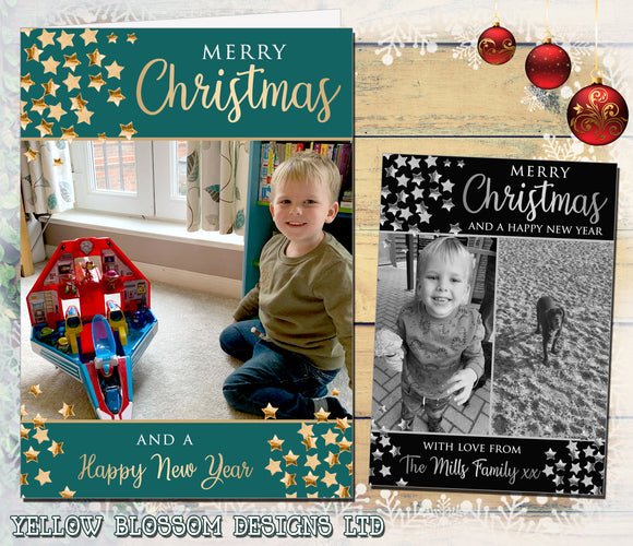 Christmas Thank You Card With Photo Personalised Bespoke Stars Family Friends Child Children Son Daughter Birthday Christening Naming Day Party Any Occasion Flat Or Folded Cards
