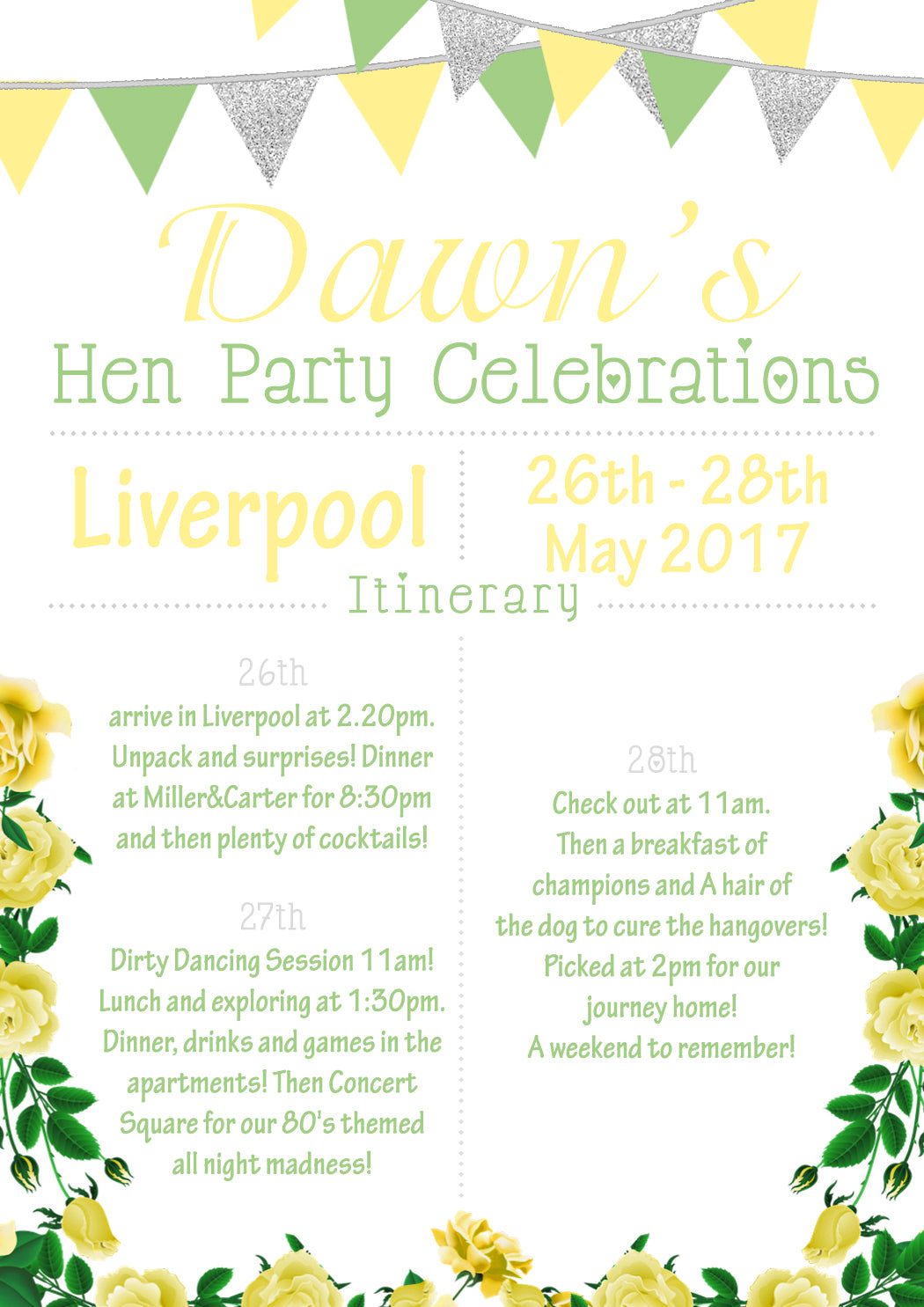 Shabby Chic Bunting Glitter Hen Weekend Itinerary Cards Hen Party ...