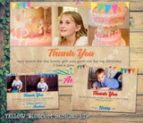 Thank You Card With Photos Personalised Rainbow Birthday Christening Naming