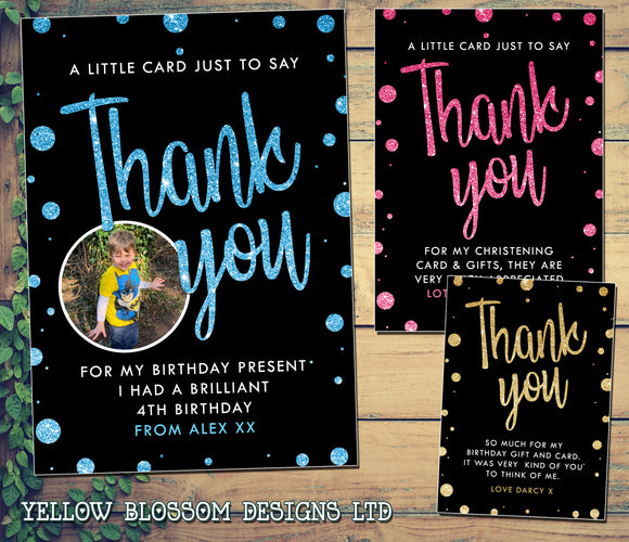 Personalised Birthday Thank You Cards Printed Glitter Effect Photo Note Blue Pink Gold Black Him Her Boy Girl Unisex Christening Naming Day Baptism Christmas Thanks