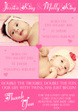 Boy Girl Twins New Born Baby Birth Announcement Photo Cards Personalised Twin Bespoke ~ QUANTITY DISCOUNT AVAILABLE - YellowBlossomDesignsLtd