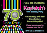 Adult Birthday Invitations Female Male Unisex Joint Party Her Him For Her - 70's Disco Party ~ QUANTITY DISCOUNT AVAILABLE