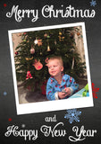 Chalkboard Snowflakes Personalised Folded Flat Christmas Photo Cards Family Child Kids ~ QUANTITY DISCOUNT AVAILABLE