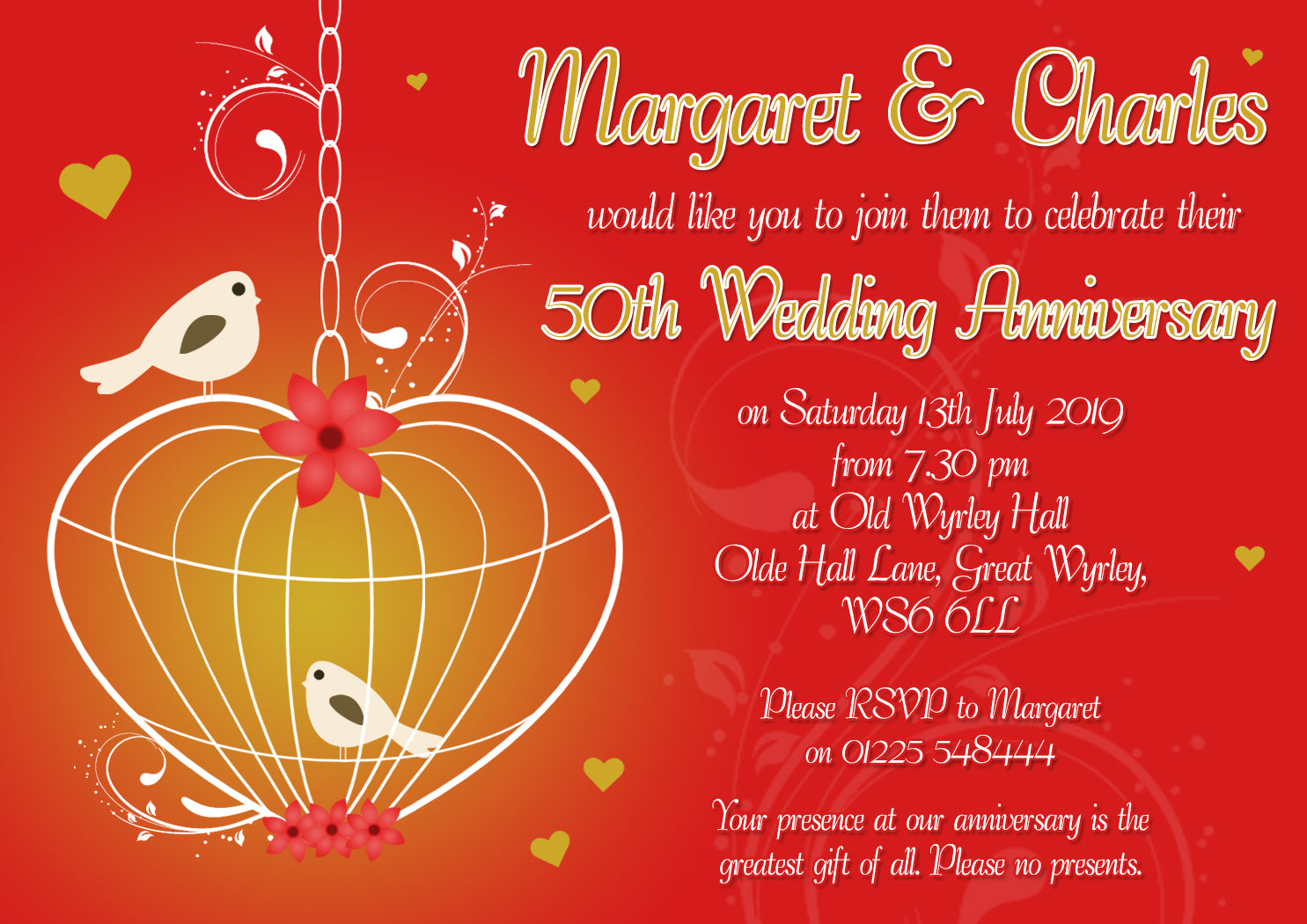 Anniversary Invitations Gold Silver Diamond Ruby 40th 50th 60th ...