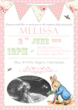 Baby Shower Invitations Boy Girl Unisex Twins Joint Party - Peter Rabbit Bunting Chic ~ QUANTITY DISCOUNT AVAILABLE - YellowBlossomDesignsLtd