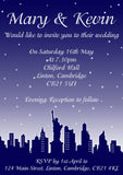 New York Skyline Wedding Invitations Personalised ~ QUANTITY DISCOUNT AVAILABLE