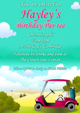 Adult Birthday Invitations Female Male Unisex Joint Party Her Him For Her - Golf Par-tee ~ QUANTITY DISCOUNT AVAILABLE