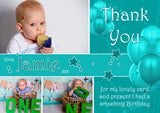 Party Balloons Pink Blue Gold Teal Photos Personalised Birthday Thank You Cards Printed Kids Child Boys Girls Adult
