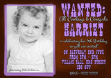Children's Kids Child Birthday Invitations Boy Girl Joint Party Twins Unisex Printed - Cowboy Cowgirl Wild West WANTED Poster Printed Photo ~ QUANTITY DISCOUNT AVAILABLE