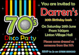 Adult Birthday Invitations Female Male Unisex Joint Party Her Him For Her - 70's Disco Party ~ QUANTITY DISCOUNT AVAILABLE - YellowBlossomDesignsLtd