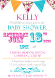 Baby Shower Invitations Boy Girl Unisex Twins Joint Party - Bunting Carnival Poster ~ QUANTITY DISCOUNT AVAILABLE - YellowBlossomDesignsLtd