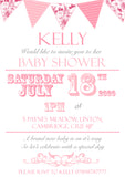 Baby Shower Invitations Boy Girl Unisex Twins Joint Party - Bunting Carnival Poster ~ QUANTITY DISCOUNT AVAILABLE