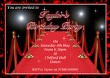 Personalised Birthday Invitations Female Male Unisex Joint Party 18th 21st 30th 40th 50th 60th Oscars Red Carpet ~ QUANTITY DISCOUNT AVAILABLE
