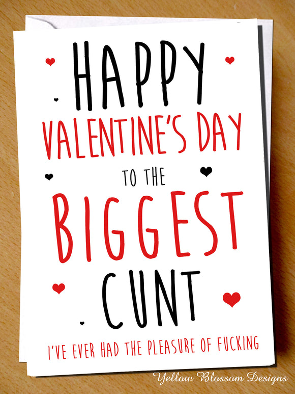 Rude Valentine's Day Card Him Her Funny Insult Joke Gift Cheeky Husband Wife Partner Couple Biggest Cunt …