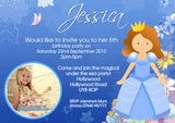 Girlie Princess Invite Girls With Photo - Children's Kids Child Birthday Invitations Boy Girl Joint Party Twins Unisex Printed ~ QUANTITY DISCOUNT AVAILABLE
