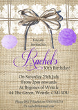 Adult Birthday Invitations Female Male Unisex Joint Party Her Him For Her - Rustic Hessian Pom Poms White Lace ~ QUANTITY DISCOUNT AVAILABLE - YellowBlossomDesignsLtd