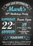 Birthday Invitations Female Male Unisex Joint Party 18th 21st 30th 40th 50th 60th Chalkboard Poster ~ QUANTITY DISCOUNT AVAILABLE - YellowBlossomDesignsLtd