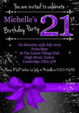 Adult Birthday Invitations Female Male Unisex Joint Party Her Him For Her - Girlie Sparkles Printed Photo Invite Black Pink Purple ~ QUANTITY DISCOUNT AVAILABLE - YellowBlossomDesignsLtd