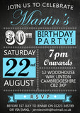 Adult Birthday Invitations Female Male Unisex Joint Party 18th 21st 30th 40th 50th 60th Blackboard Poster Funky Carnival ~ QUANTITY DISCOUNT AVAILABLE