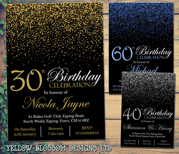 Glitter Confetti Birthday Invitations Female Male Unisex Joint Party 18th 21st 30th 40th 50th 60th