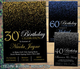 Glitter Confetti Birthday Invitations Female Male Unisex Joint Party 18th 21st 30th 40th 50th 60th ~ QUANTITY DISCOUNT AVAILABLE