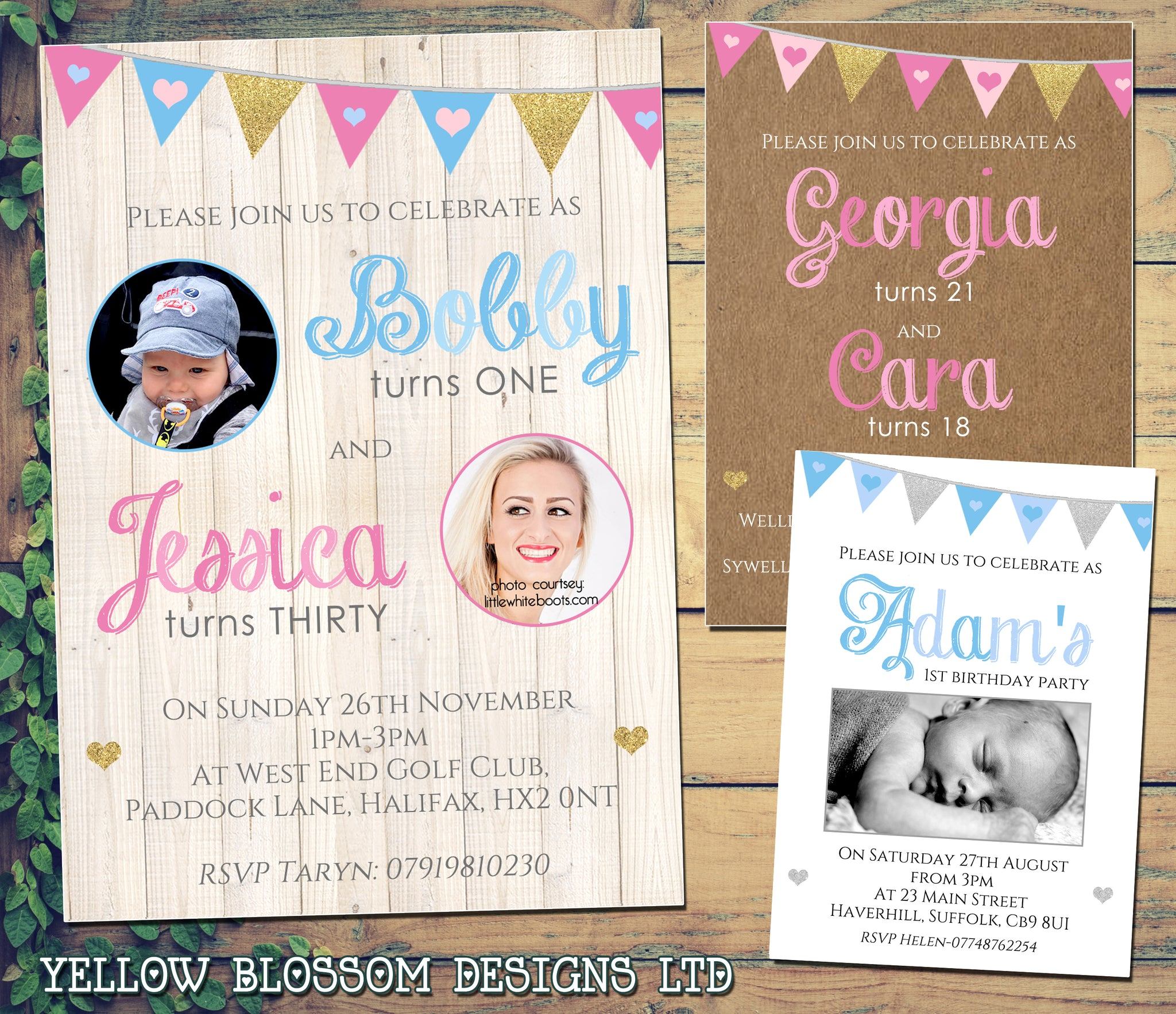 Joint Shabby Chic Rustic Birthday Invitations Personalised Bespoke Twin QUANTITY DISCOUNT AVAILABLE