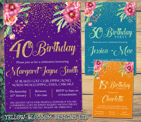 Glitter Confetti Floral Birthday Invitations Party 18th 21st 30th 40th 50th 60th