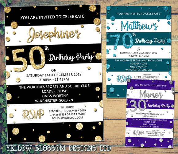 Adult Party Invitations Glitter Effect Stripes Dots 30th 40th 50th 60th 70th