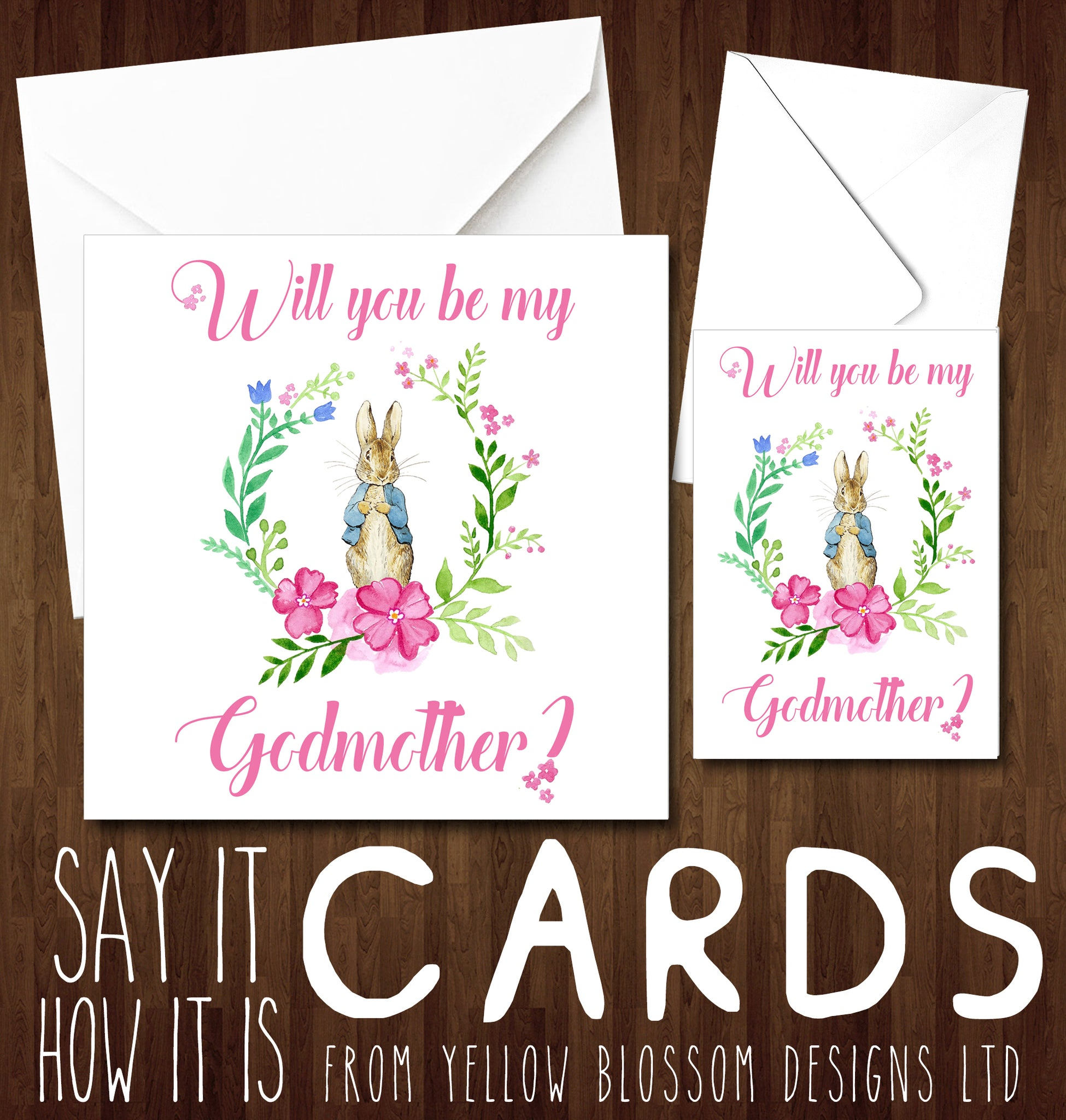 Will you be my godmother card peter rabbit pink will you be my godmother card peter rabbit pink m4hsunfo