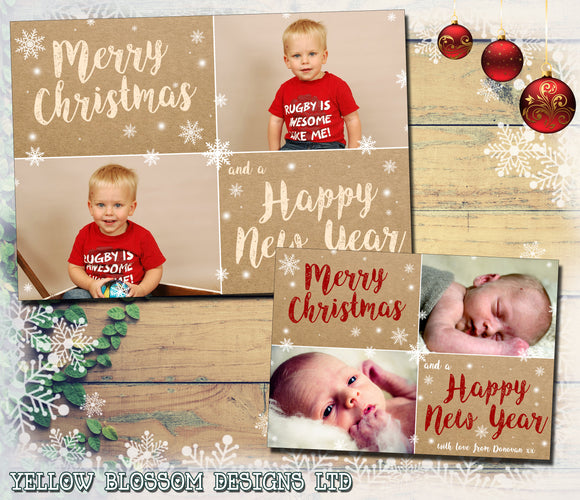 Rustic Shabby Chic Photo Christmas Cards ~ QUANTITY DISCOUNT AVAILABLE