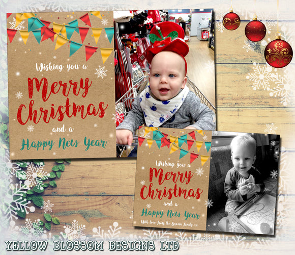 Festival Bunting Photo Christmas Cards ~ QUANTITY DISCOUNT AVAILABLE