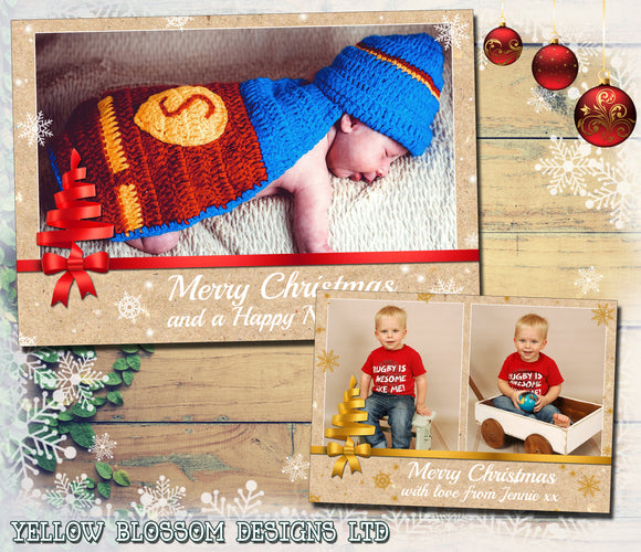 Christmas Tree Bow Photo Cards ~ QUANTITY DISCOUNT AVAILABLE