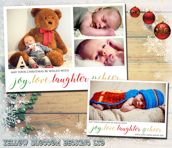 Joy, Love, Laughter & Cheer Photo Christmas Card ~ QUANTITY DISCOUNT AVAILABLE