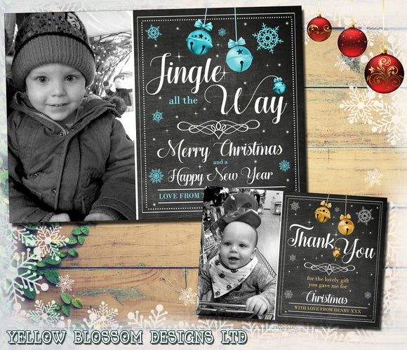 Jingle Bell Personalised Packs of Photo Christmas Cards Thank You