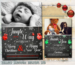 Personalised Packs of Photo Christmas Cards Portrait Chalkboard Jingle