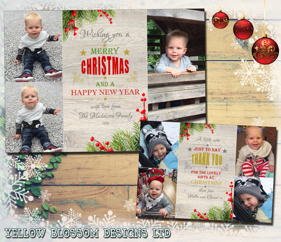 Personalised Christmas Photo Cards Rustic Winter Berries ~ QUANTITY DISCOUNT AVAILABLE