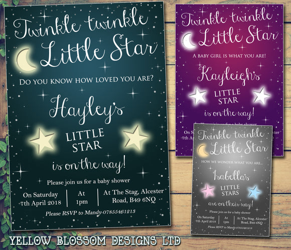 Twinkle Twinkle Little Star Baby Shower Party Invitations ~ Boy Girl