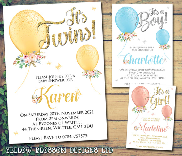 Personalised Baby Shower Invitations Boy Girl Twins Unisex Joint Party Balloons Butterflies Floral Flowers Adorabale Cute Little Boy Little Girl Him Her Spring Summer Newborn Baby