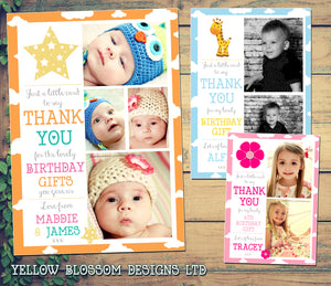 Giraffe Stars Flower Photo Message Personalised Birthday Thank You Cards Printed Kids Child Boys Girls