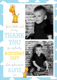 Giraffe Stars Flower Photo Message Personalised Birthday Thank You Cards Printed Kids Child Boys Girls Adult ~ QUANTITY DISCOUNT AVAILABLE