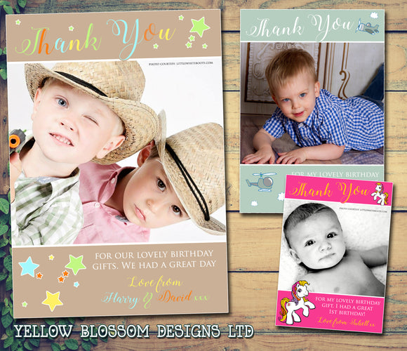 Planes Stars Pony Horse Photo Joint Personalised Birthday Thank You Cards Printed Kids Child Boys Girls Adult ~ QUANTITY DISCOUNT AVAILABLE