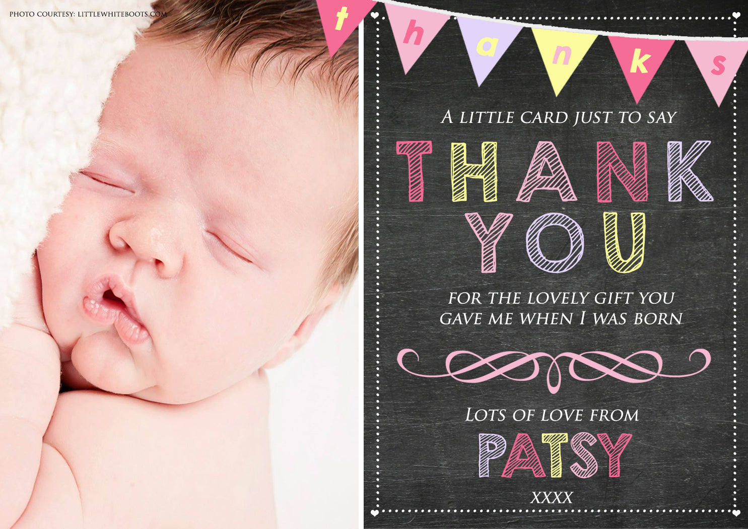 Thank You Card Chalkboard and Bunting