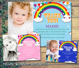 Rainbow Photo Thanks Personalised Birthday Thank You Cards Printed Kids Child Boys Girls Adult
