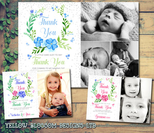 Photo Thank You Cards Boys Girls Cute Floral Wreath
