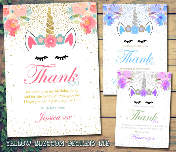 Thank You Cards ~ Unicorn Glitter Effect Themed ~ Birthday Christening Gifts