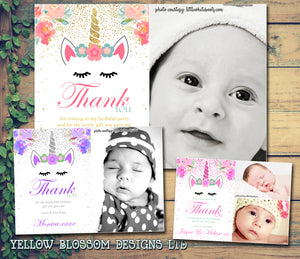 Unicorn Photo Thank You Cards ~ Birthday Christening Naming Day Gifts