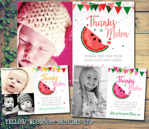 Watermelon Thank You Photo Birthday Cards ~ Thanks A Melon
