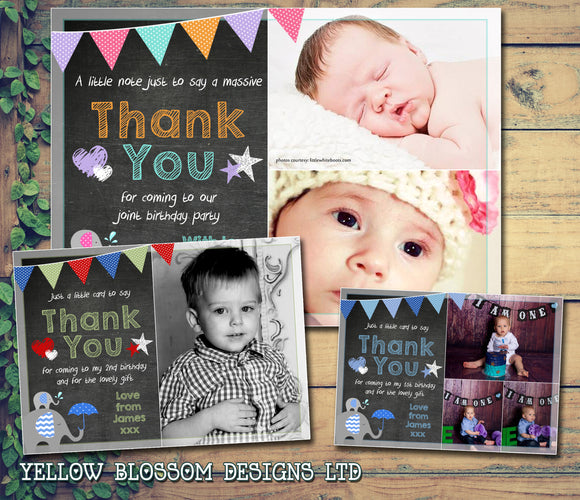 Premium Personalised Birthday Christening Thank You Cards Photo Boy Girl Twins